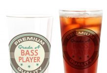 bass player pint glass